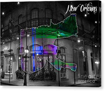 New Orleans Map Watercolor Canvas Print by Marvin Blaine