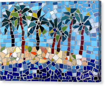 7 Palm Trees Mosaic Canvas Print
