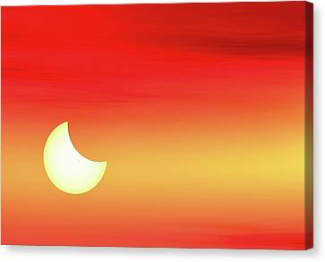 Solar Eclipse Canvas Print - Partial Solar Eclipse by Detlev Van Ravenswaay