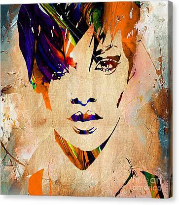 Rihanna Canvas Print - Rihanna Collection by Marvin Blaine