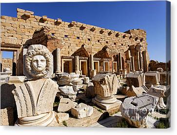 Sculpted Medusa Head At The Forum Of Severus At Leptis Magna In Libya Canvas Print by Robert Preston