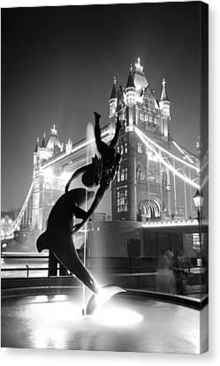 Tower Bridge And Statue Canvas Print