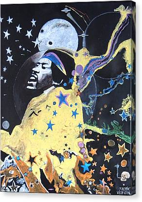 Canvas Print featuring the painting Trippin' With Jimi. by Ken Zabel