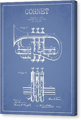 Cornet Patent Drawing From 1901 - Light Blue Canvas Print