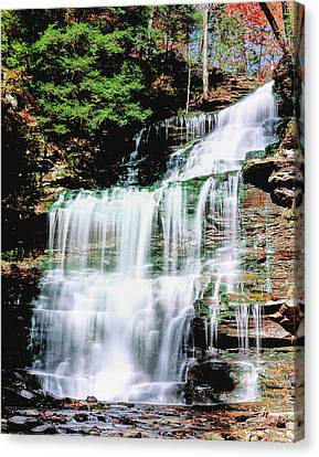 Water Falling From Rocks In A Forest Canvas Print