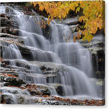 Waterfall In Autumn Canvas Print by Stephen  Vecchiotti