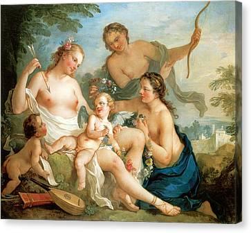 Venus And Cupid Canvas Print by Charles Joseph Natoire