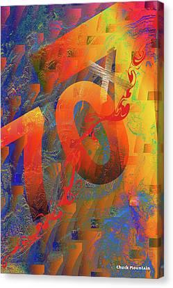 Canvas Print featuring the digital art 70 X 7 by Chuck Mountain