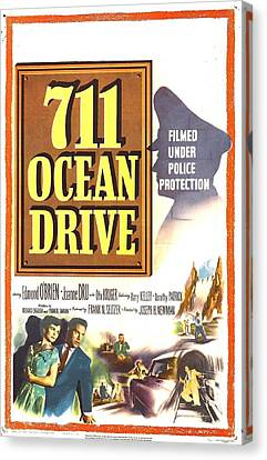 1950s Poster Art Canvas Print - 711 Ocean Drive, Us Poster, Bottom by Everett