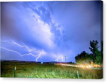 95th And Woodland Lightning Thunderstorm View Hdr Canvas Print by James BO  Insogna