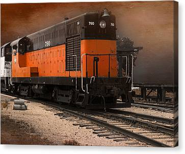 Black Tie Canvas Print - 760 Train Engine Approaching Textured by Thomas Woolworth