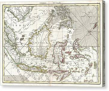 770 Bonne Map Of The East Indies Java Sumatra Borneo Singapore Canvas Print by Paul Fearn
