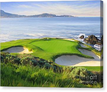 Sport Canvas Print - 7th Hole At Pebble Beach by Tim Gilliland