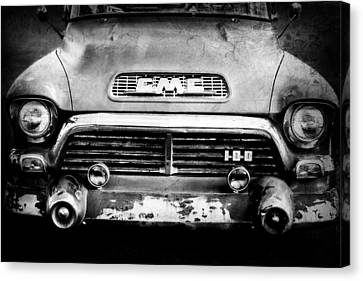 1957 Gmc V8 Pickup Truck Grille Emblem Canvas Print by Jill Reger