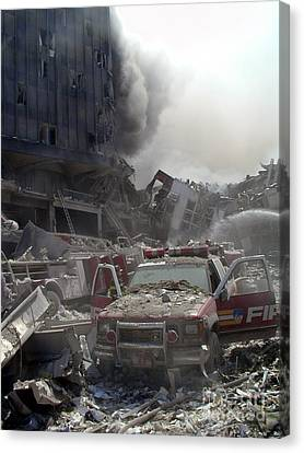 9-11-01 Wtc Terrorist Attack Canvas Print by Steven Spak
