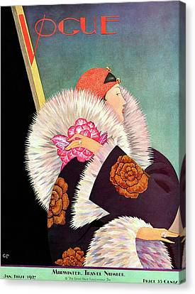 A Vintage Vogue Magazine Cover Of A Woman Canvas Print by George Wolfe Plank