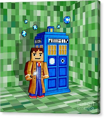 8 Bit Time And Space Traveller Canvas Print