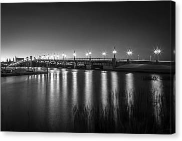 Bridge Of Lions St Augustine Florida Painted Bw Canvas Print by Rich Franco