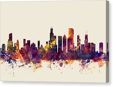 Chicago Skyline Canvas Print - Chicago Illinois Skyline by Michael Tompsett