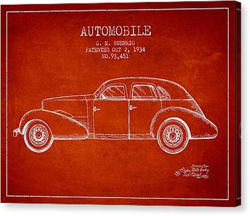 Cord Automobile Patent From 1934 Canvas Print by Aged Pixel