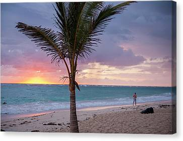 Jogging Canvas Print - Dominican Republic, Punta Cana, Higuey by Lisa S. Engelbrecht