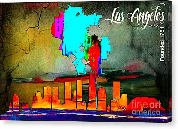 Vintage Canvas Print - Los Angeles Map And Skyline by Marvin Blaine