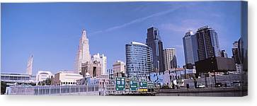 Low Angle View Of Downtown Skyline Canvas Print by Panoramic Images