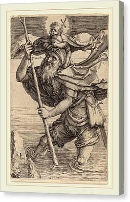 Saint Christopher Canvas Print - Lucas Van Leyden Netherlandish, 1489-1494-1533 by Litz Collection