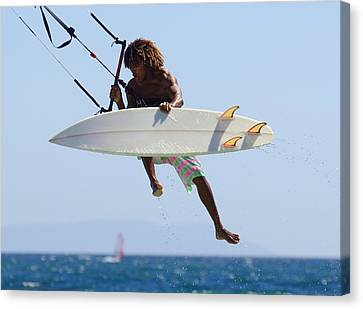 Man Kitesurfing Canvas Print by Ben Welsh