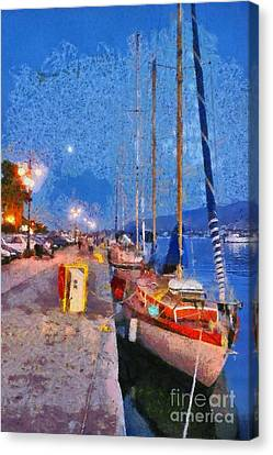 Aegean Canvas Print - Mytilini Port by George Atsametakis