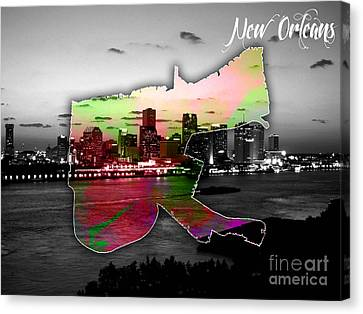 New Orleans Map And Skyline Watercolor Canvas Print