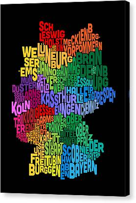 Text Map Of Germany Map Canvas Print by Michael Tompsett