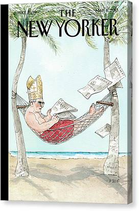 Pope Canvas Print - New Yorker March 11th, 2013 by Barry Blitt