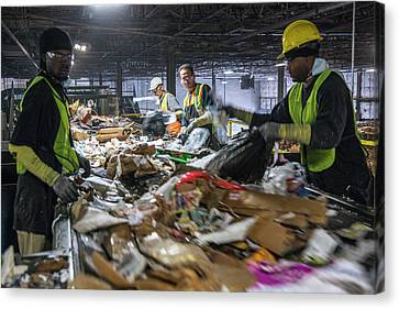 Waste Sorting At A Recycling Centre Canvas Print