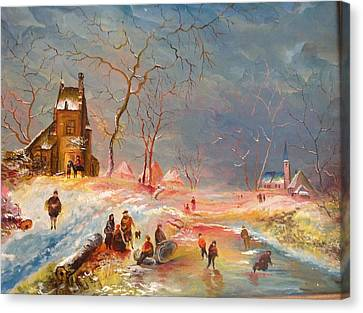 Canvas Print featuring the painting Winter Landscape by Egidio Graziani