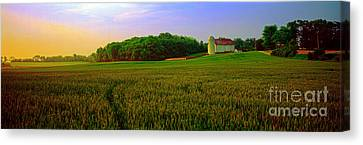 Conley Rd Spring Pasture Oaks And Barn  Canvas Print