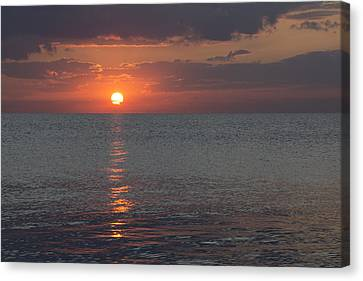 Canvas Print featuring the photograph 8.16.13 Sunrise Over Lake Michigan North Of Chicago 004 by Michael  Bennett