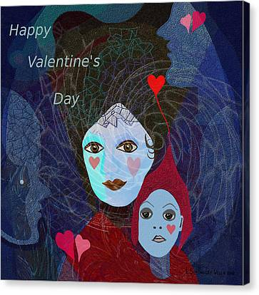 830 - Happy Valentines Day Canvas Print by Irmgard Schoendorf Welch