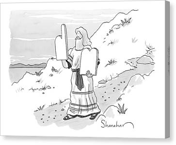 Ten Commandments Canvas Print - New Yorker February 9th, 2009 by Danny Shanahan