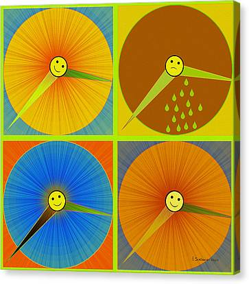 880 - Rain And Shine Clocks  Canvas Print by Irmgard Schoendorf Welch
