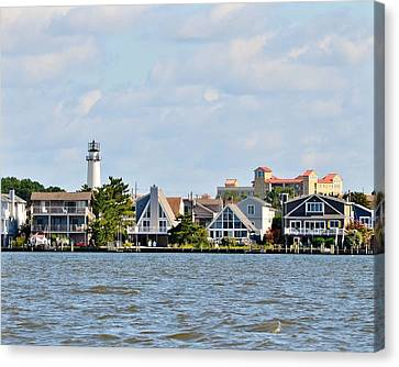 8x10 Fenwick Island Lighthouse From Assawoman Canal Canvas Print by Kim Bemis