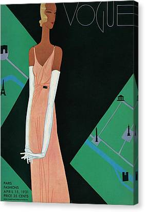 A Vintage Vogue Magazine Cover Of A Woman Canvas Print by Eduardo Garcia Benito