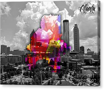 Atlanta Map And Skyline Watercolor Canvas Print by Marvin Blaine