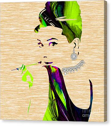 Audrey Hepburn Diamond Collection Canvas Print by Marvin Blaine
