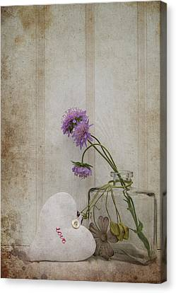 Beautiful Flower In Vase With Heart Still Life Love Concept Canvas Print by Matthew Gibson
