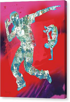 Dancing Canvas Print - Hip Hop Street Dancing  Pop Stylised Art Poster by Kim Wang