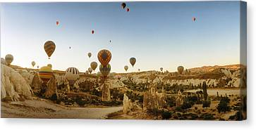 Hot Air Balloons Over Landscape Canvas Print