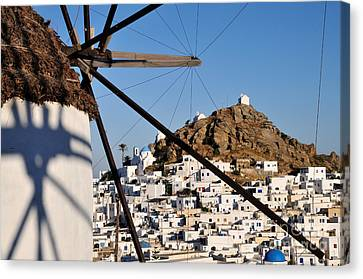 Cyclades Canvas Print - Ios Town And Windmill by George Atsametakis