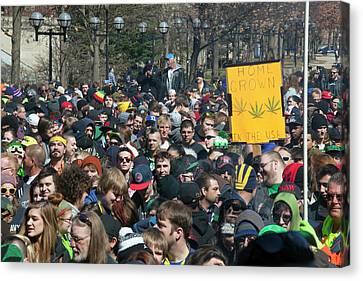 Democracy Canvas Print - Legalisation Of Marijuana Rally by Jim West
