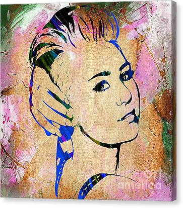 Miley Cyrus Collection Canvas Print by Marvin Blaine